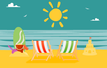 Deckchairs on beach with sun graphic