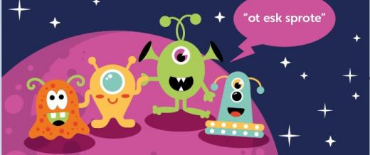 Herts for Learning Phonics Screening Check project graphic featuring an array of colourful aliens.