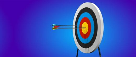 Arrow in bullseye of target
