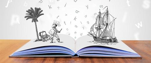 Open book with illustrations of Pirate and a ship