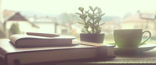 Desk with books and plant