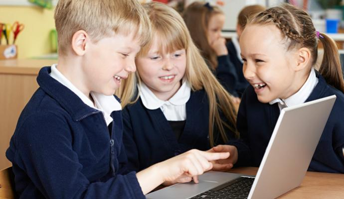children using chromebook