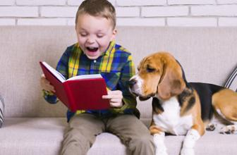 Child reading a funny book to his dog